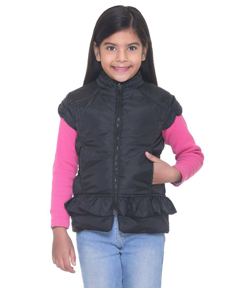 Kids-17 Black Polyester Quilted and Bomber Jacket