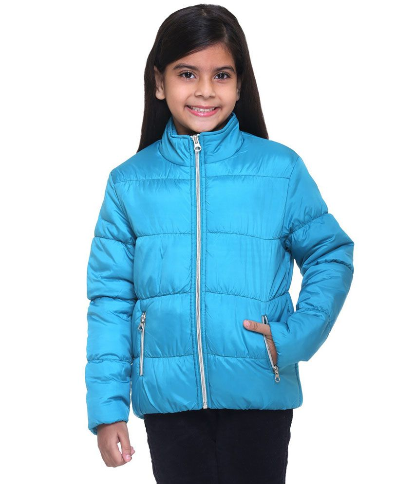Kids-17 Blue Polyester Quilted and Bomber Jacket
