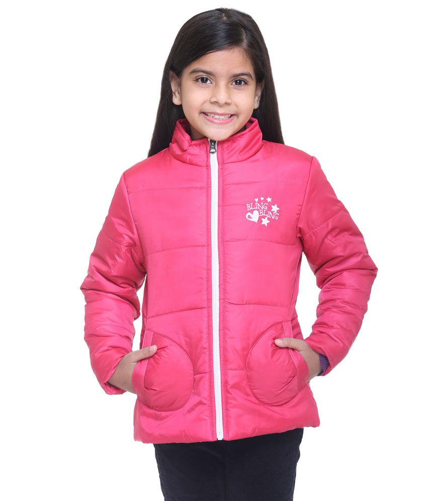 Kids-17 Pink Polyester Quilted and Bomber Jacket