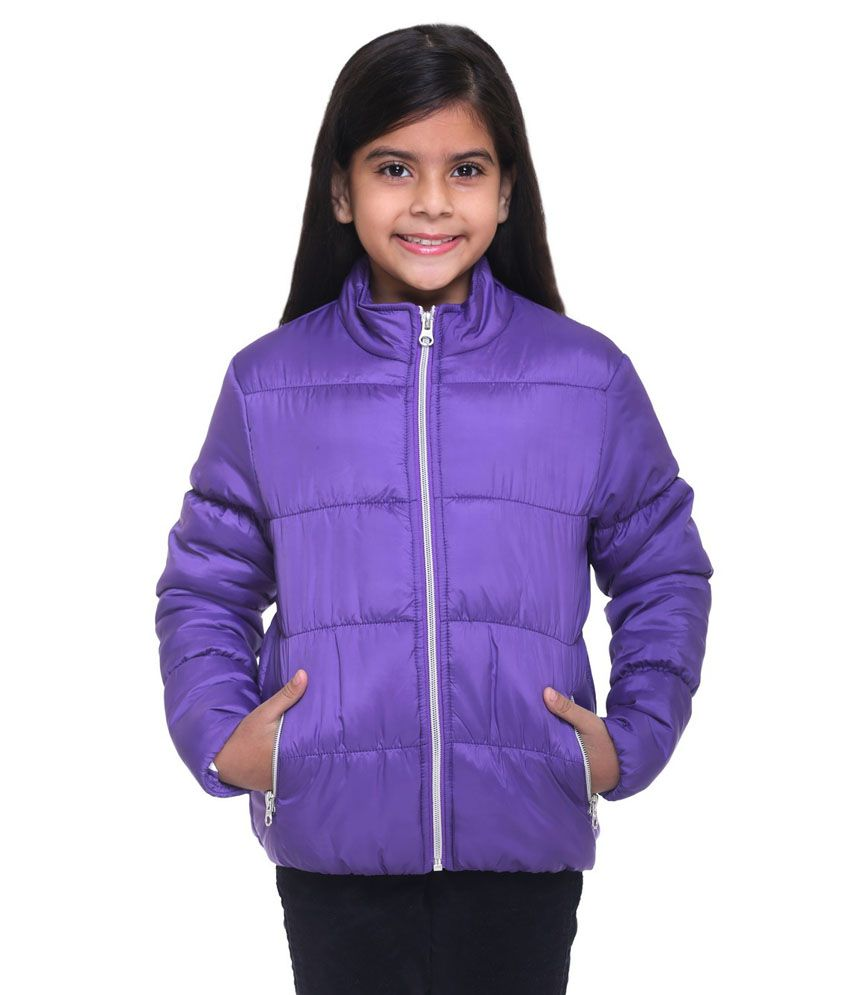 Kids-17 Purple Polyester Quilted and Bomber Jacket