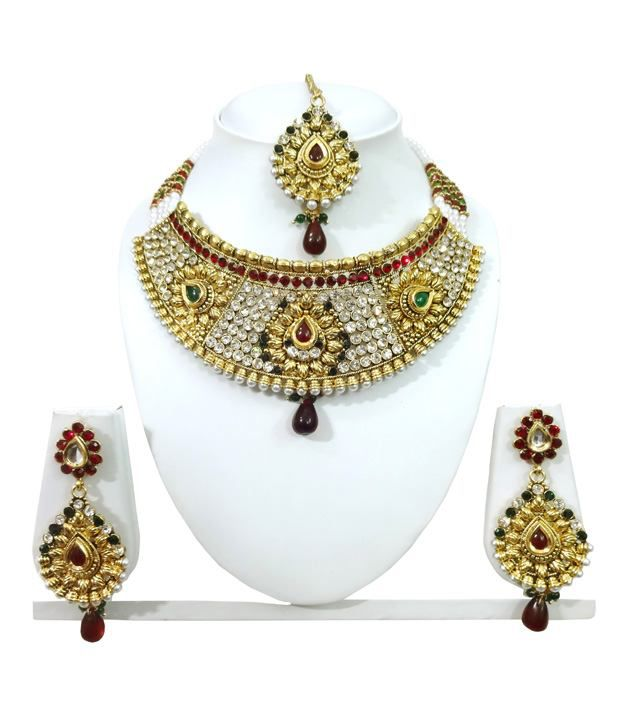 Arts Chetan Golden Bridal Alloy Necklace Set With Maang Tika