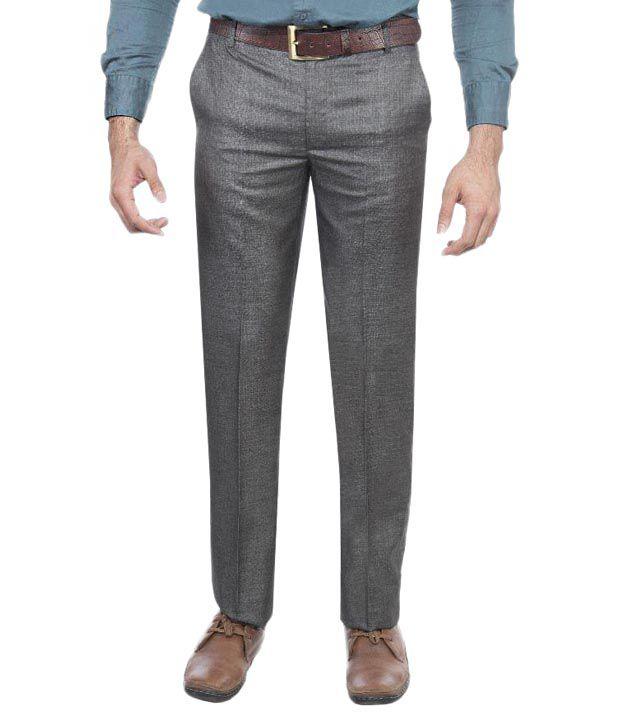 Aragon Black Regular Fit Flat Formal Trousers