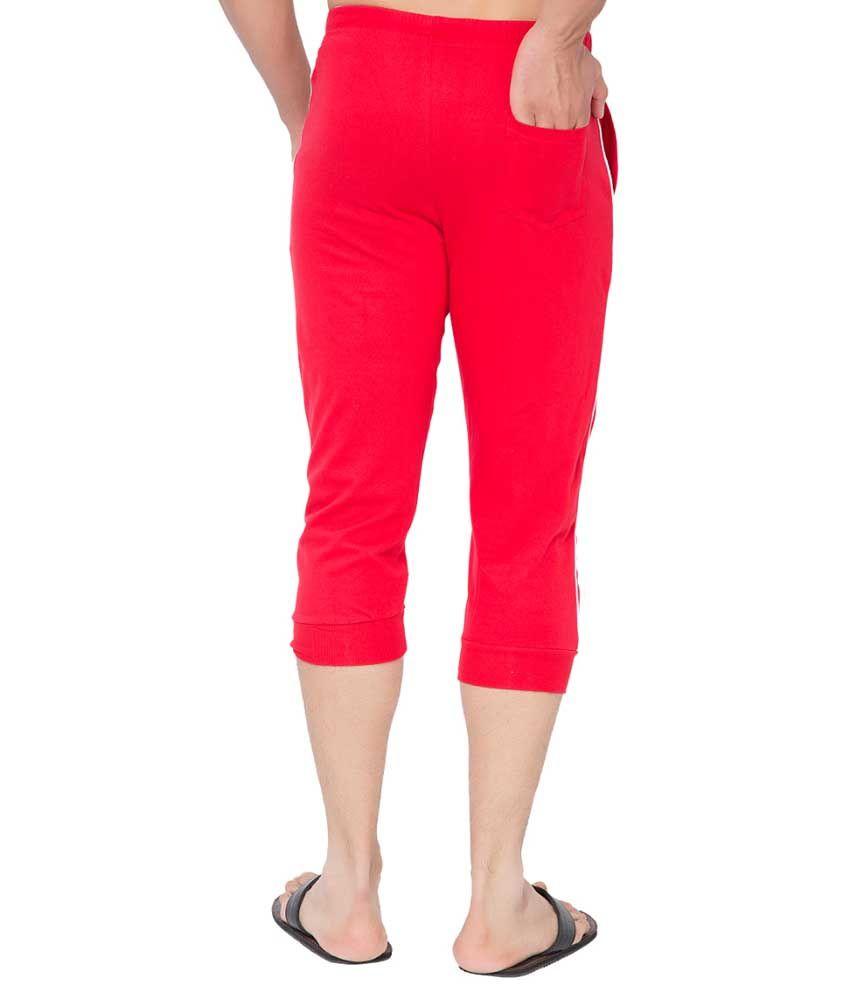 Clifton Fitness Men's Thin Stripe Comfort Capri- Red.White