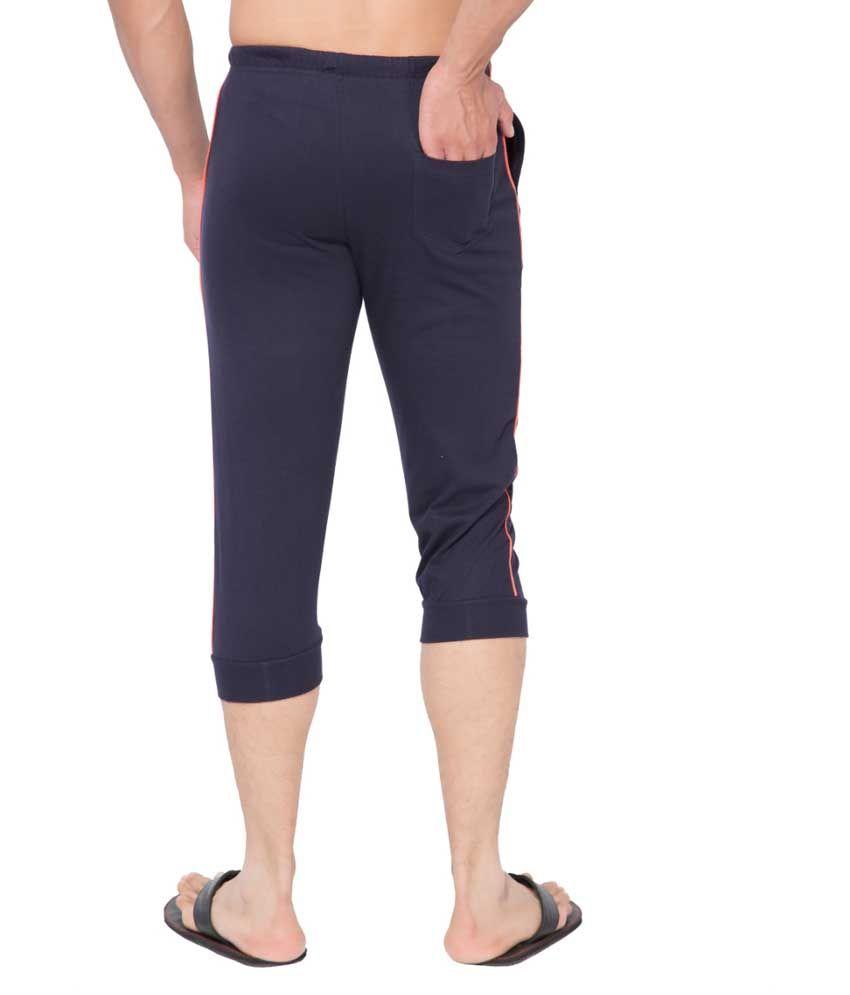 Clifton Fitness Men's Thin Stripe Comfort Capri- Navy.Deep Orange