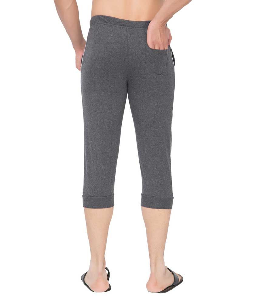 Clifton Fitness Men's Thin Stripe Comfort Capri- Charcoal Melange.Grey Melange