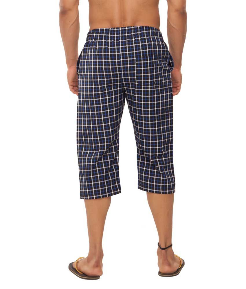 Clifton Fitness Men's Woven Capri- Black/BlueChecks