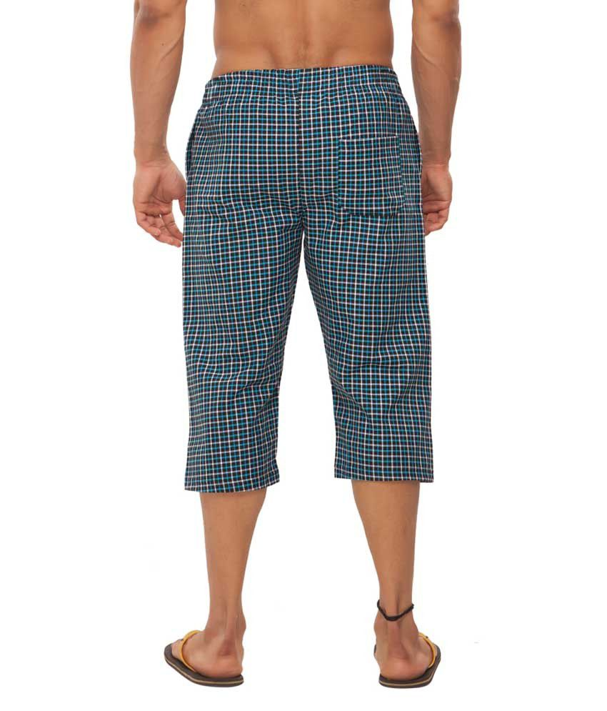 Clifton Fitness Men's Woven Capri- Blue/BlackChecks