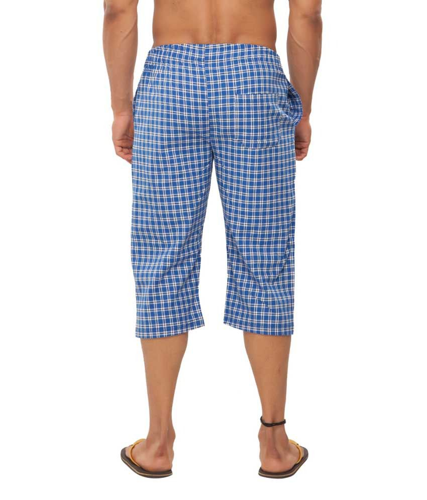 Clifton Fitness Men's Woven Capri- Blue/WhiteChecks