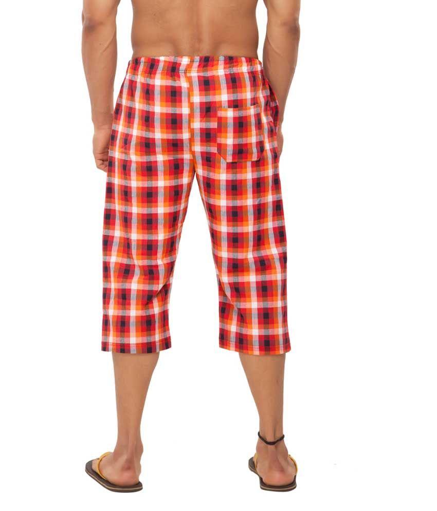 Clifton Fitness Men's Woven Capri- Orange/Red Checks