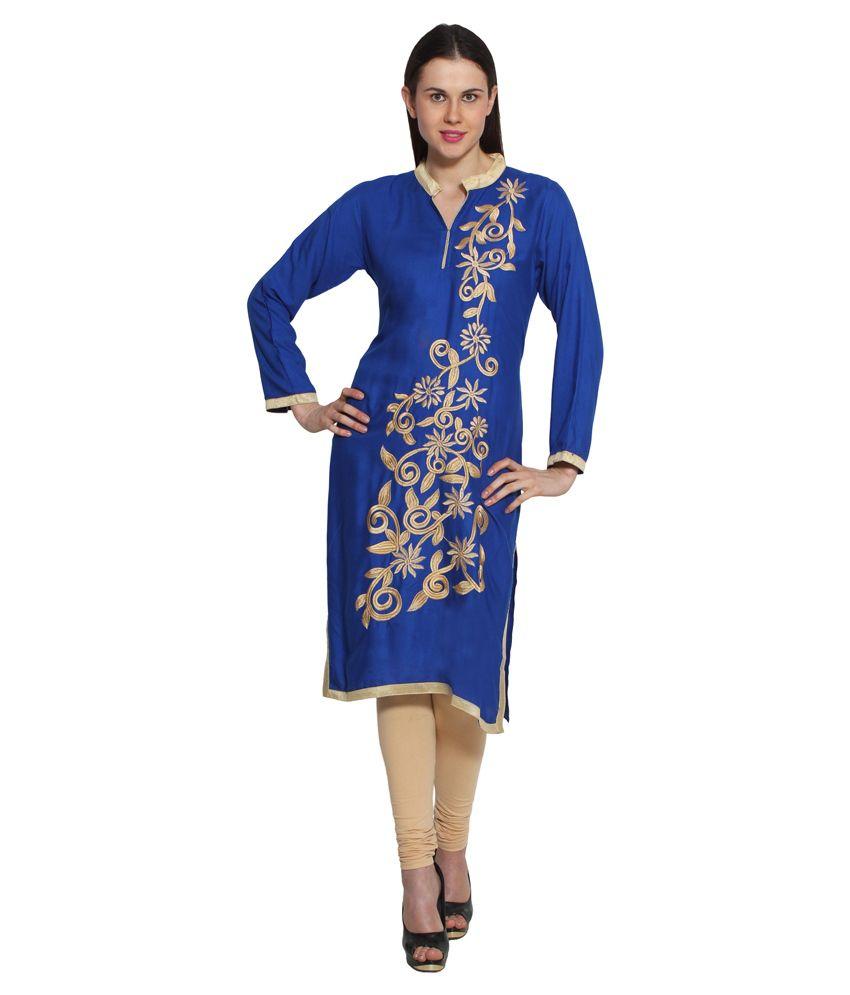 Jainish Blue Straight Poly Rayon Kurti
