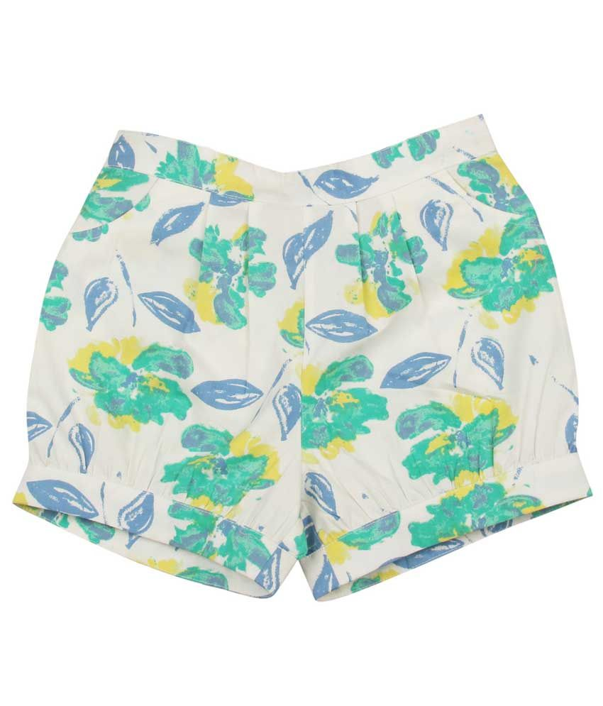 My Lil' Berry Green Cotton Shorts For Girls