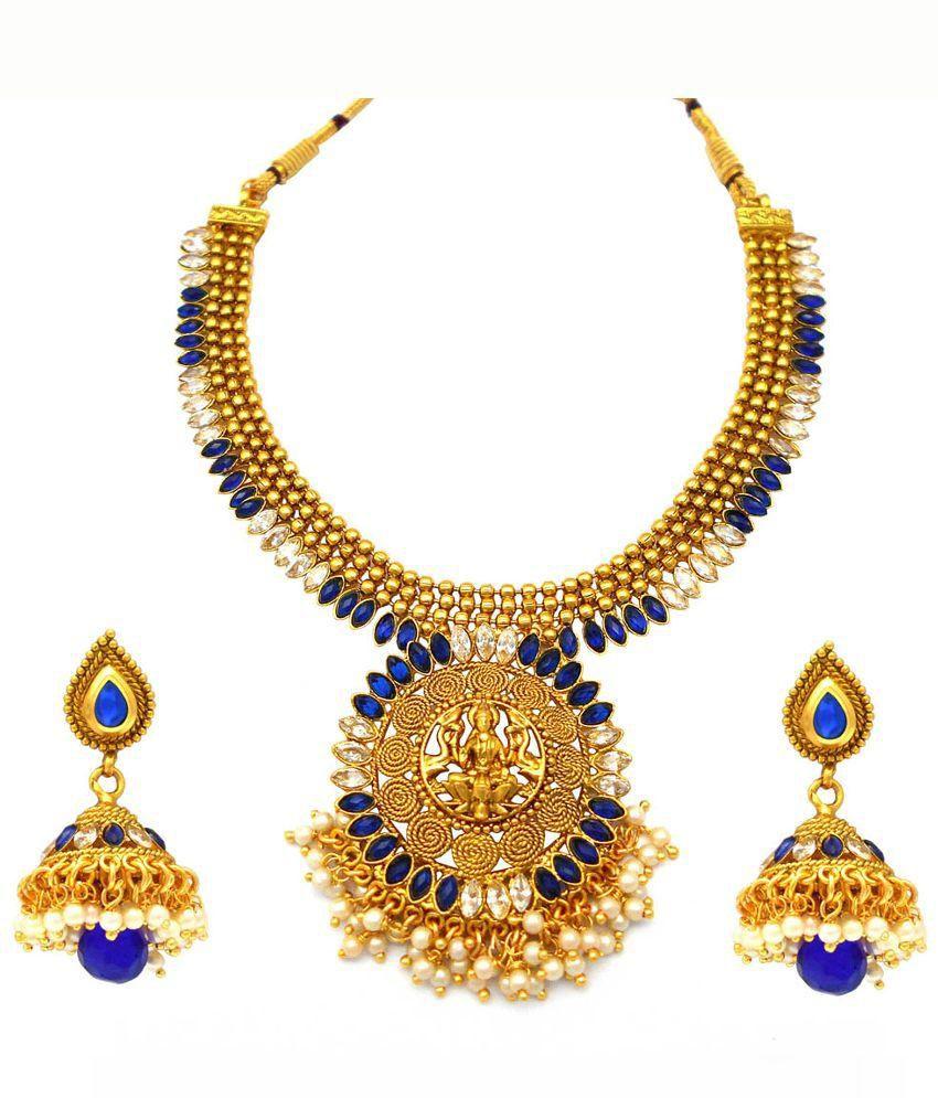 Rejewel Golden American Diamond Designer Necklace Set