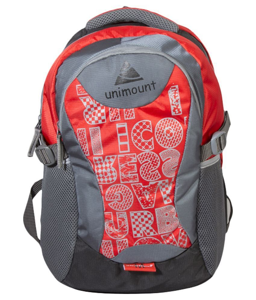 Unimount Red and Grey Polyester Laptop Bag