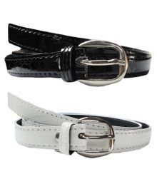 Exclusive Luks Combo Of White And Black Casual Belts For Women