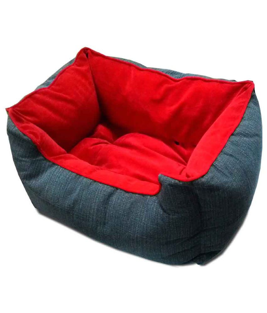 04c8ae688e99 Smarty Pet Grey and Red Fabric Pet Bed with Cushion