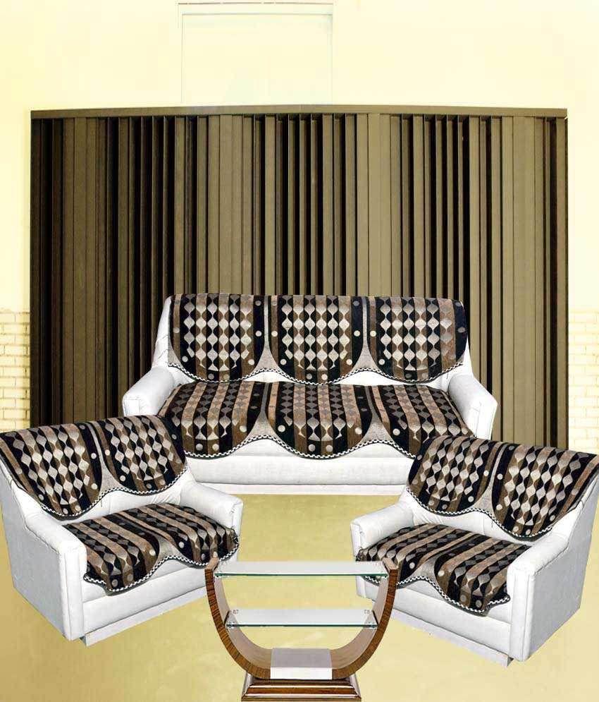Tanya S Homes Multicolour Chenille Velvet Sofa Covers For 7 Seater
