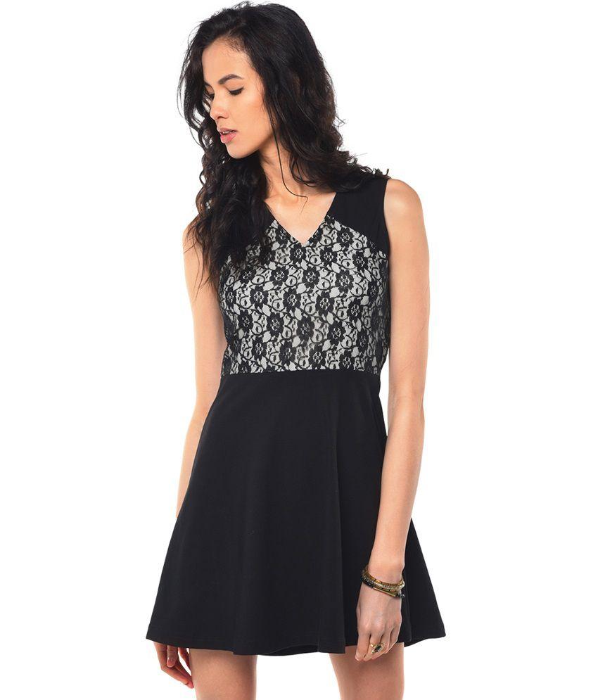 Besiva Black Cotton Dresses