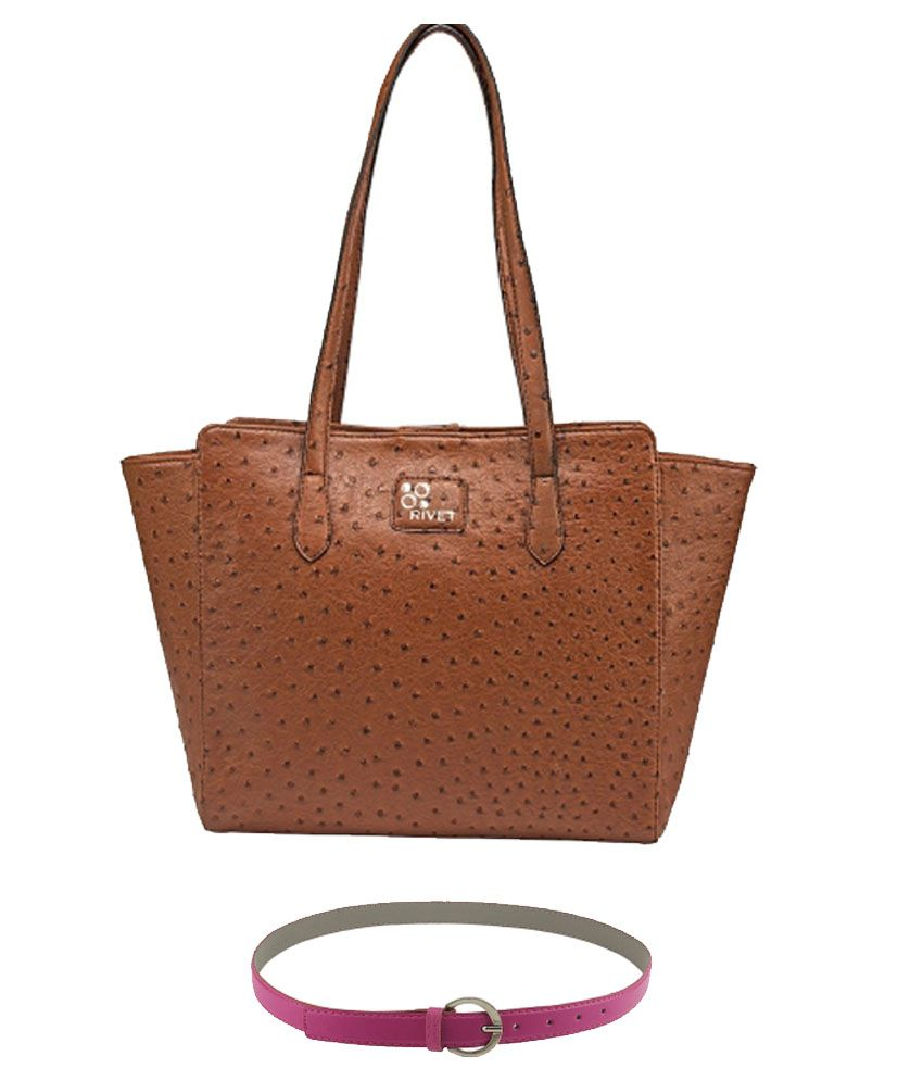 Rivet Brown Shoulder Bag with Pink Belt