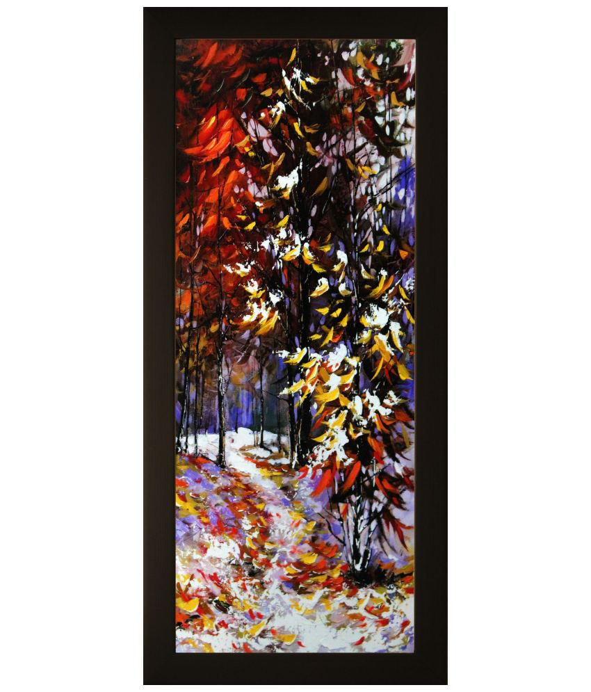 SAF Multicolour Landscape Painting with Wooden Frame
