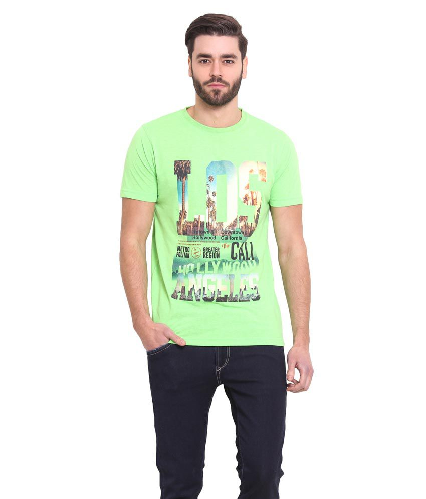 Western Vivid Green Round T Shirts
