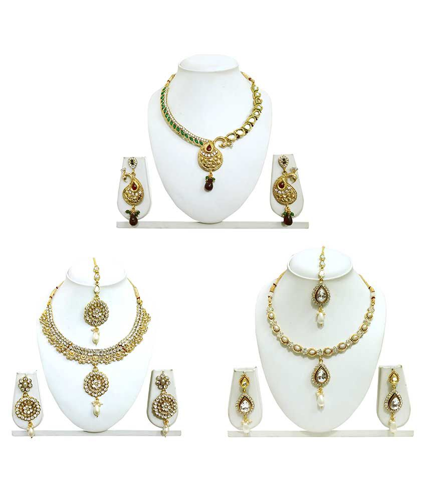 Arts Chetan Golden Alloy Necklace Set With Maang Tika - Pack Of 3