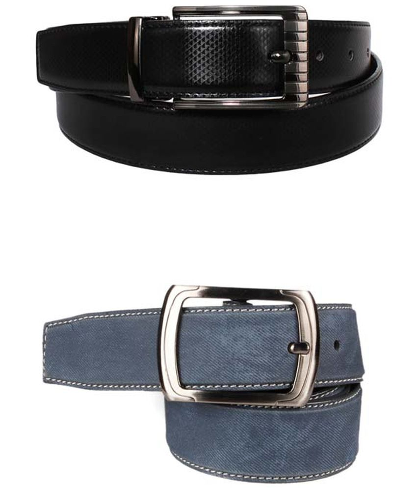 Lenin Black and Grey Leather Reversible Belt for Men - Pack of 2