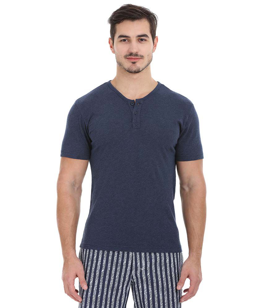 Zobello Navy Henley T Shirts