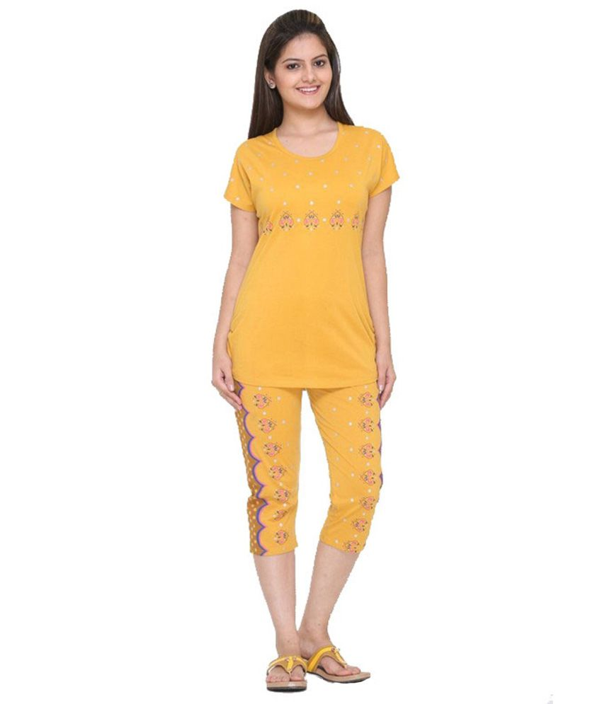 In Love Yellow Poly Cotton Nightsuit Sets