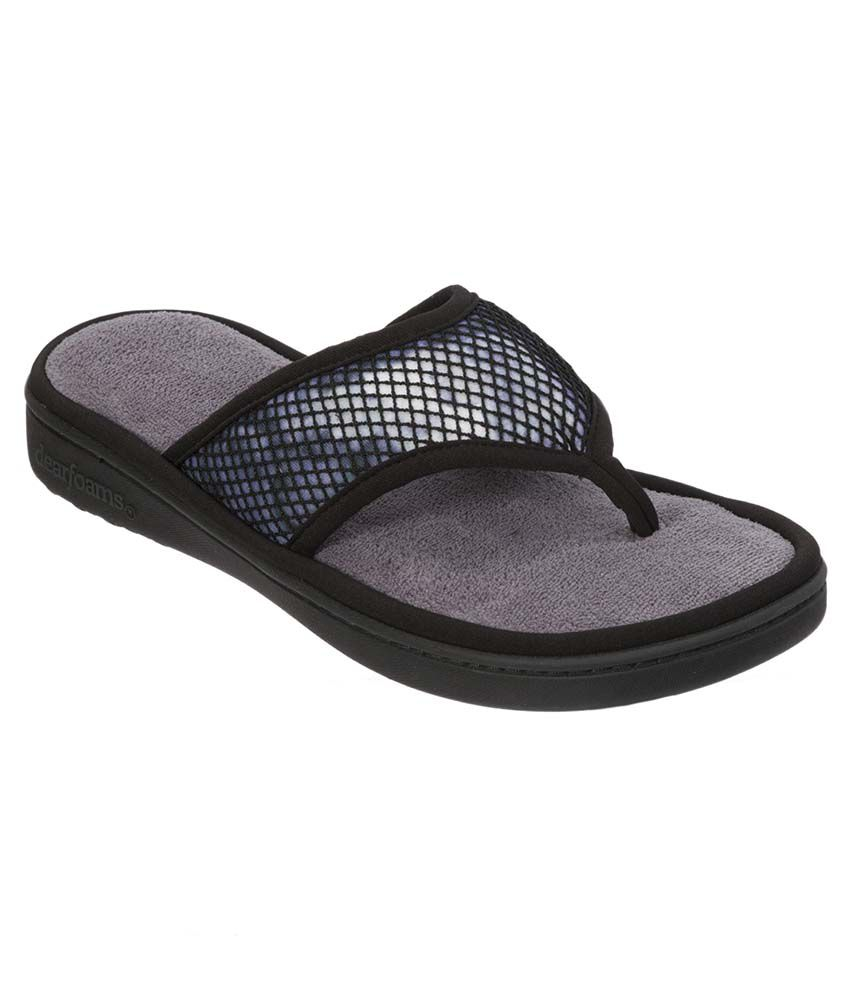 Dearfoams Black Slippers & Flip Flops