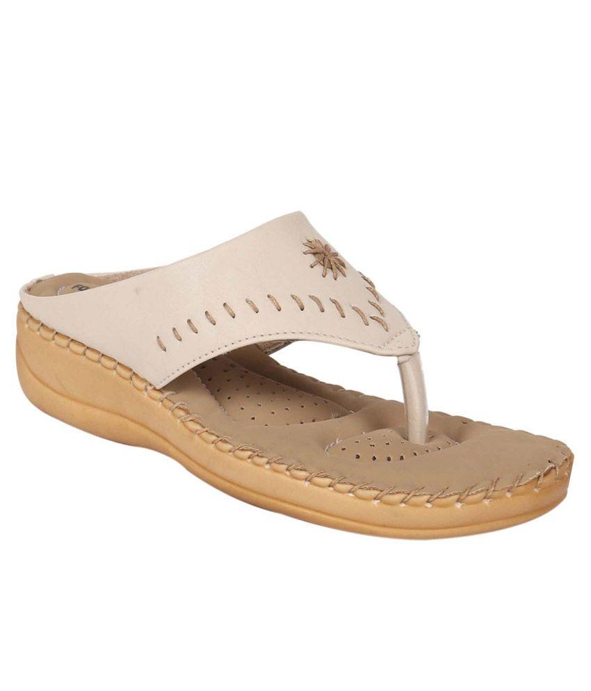 Footshez Beige Wedges Heels