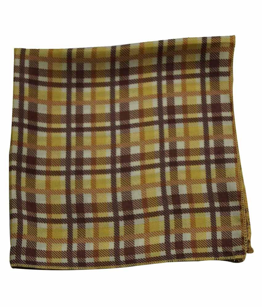 Chokore Yellow & Brown Silk Pocket Square For Men