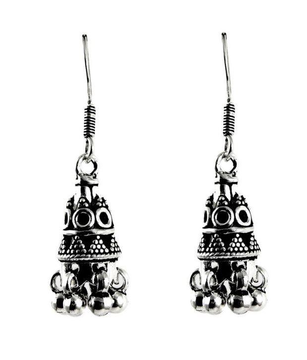 Miska Silver 92.5 Sterling Silver Jhumki Earrings