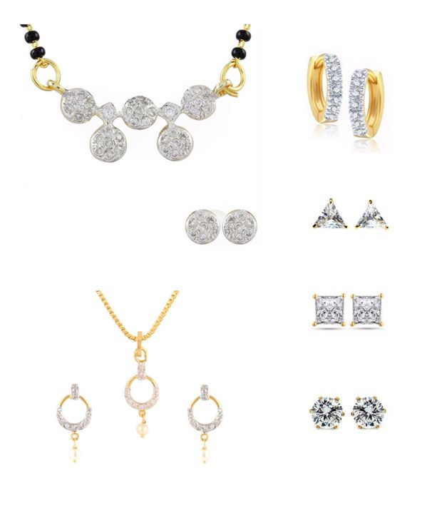 Parijaat Golden Alloy Mangalsutra Set with 1 Pendant Set, 1 Bali and 3 Stud Earrings