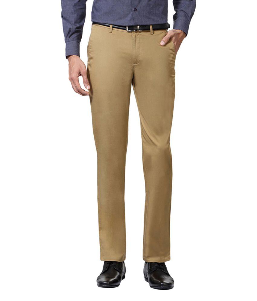 Peter England Khaki Slim Fit Flat Trousers