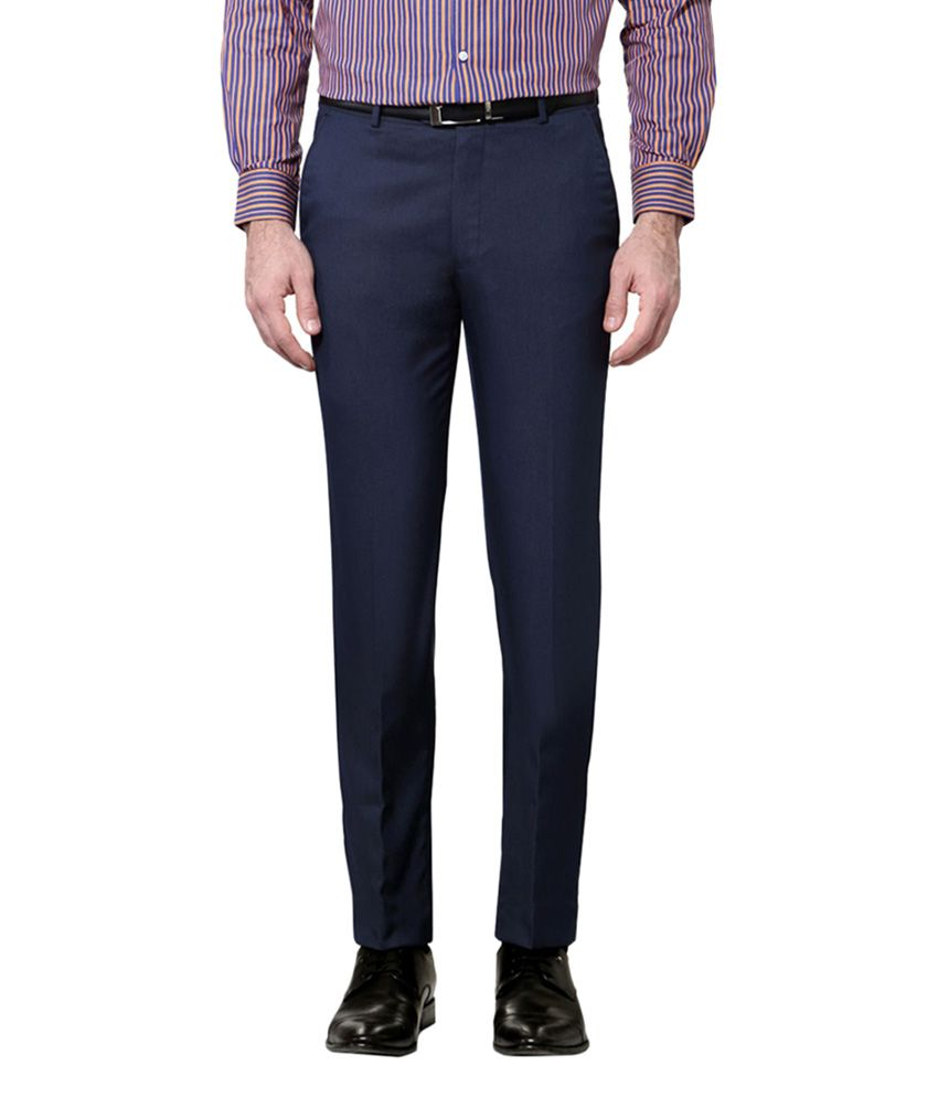 Peter England Navy Slim Fit Flat Trousers