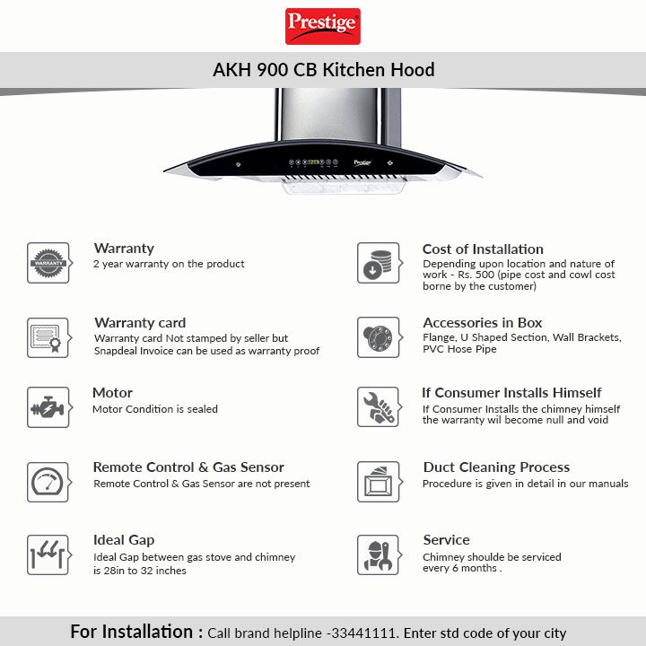 Prestige Akh 900 Cb Kitchen Hood Price In India Online On Snapdeal