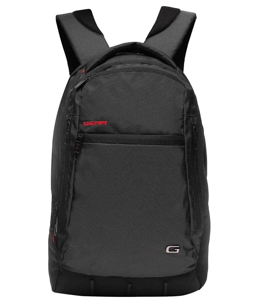 Gear Black Polyester Laptop Bag