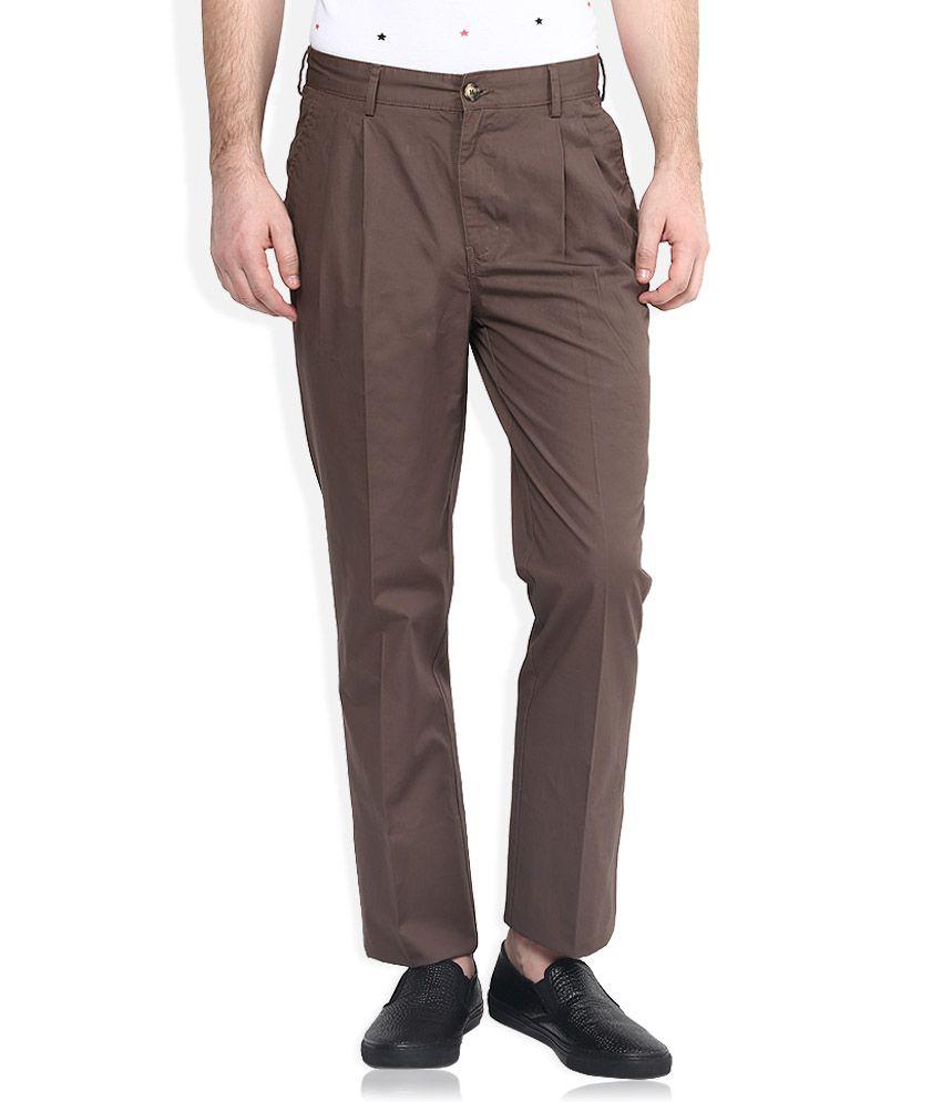 Parx Brown Regular Fit Trousers