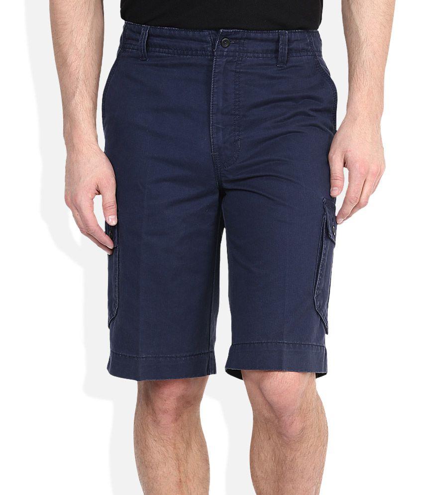Parx Navy Solid Shorts