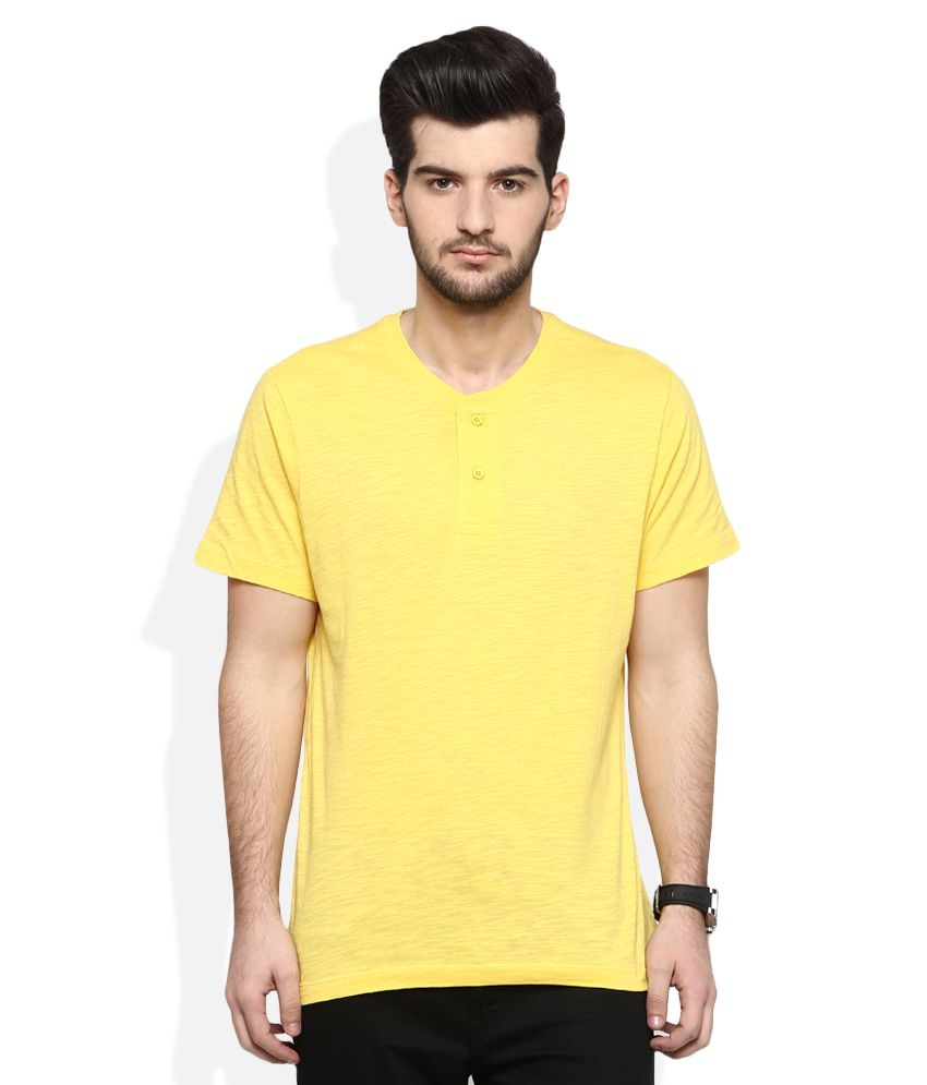 Parx Yellow Solid T-Shirt
