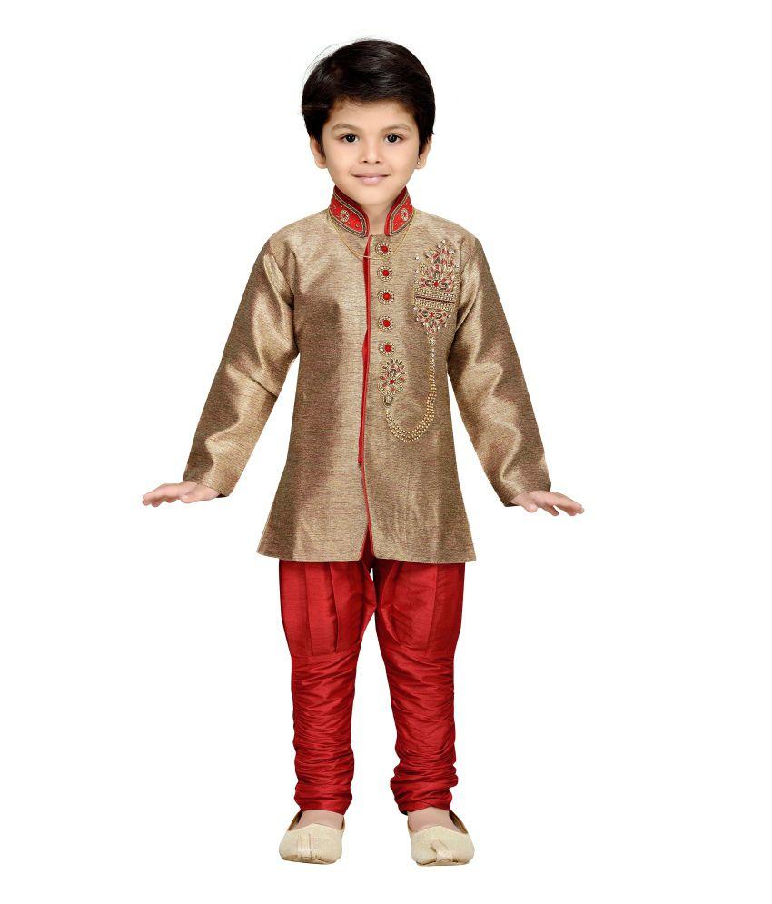 AJ Dezines Red Sherwani And Breeches Set