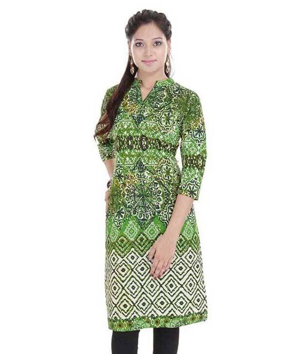 Anjani Green Cotton Straight Kurti