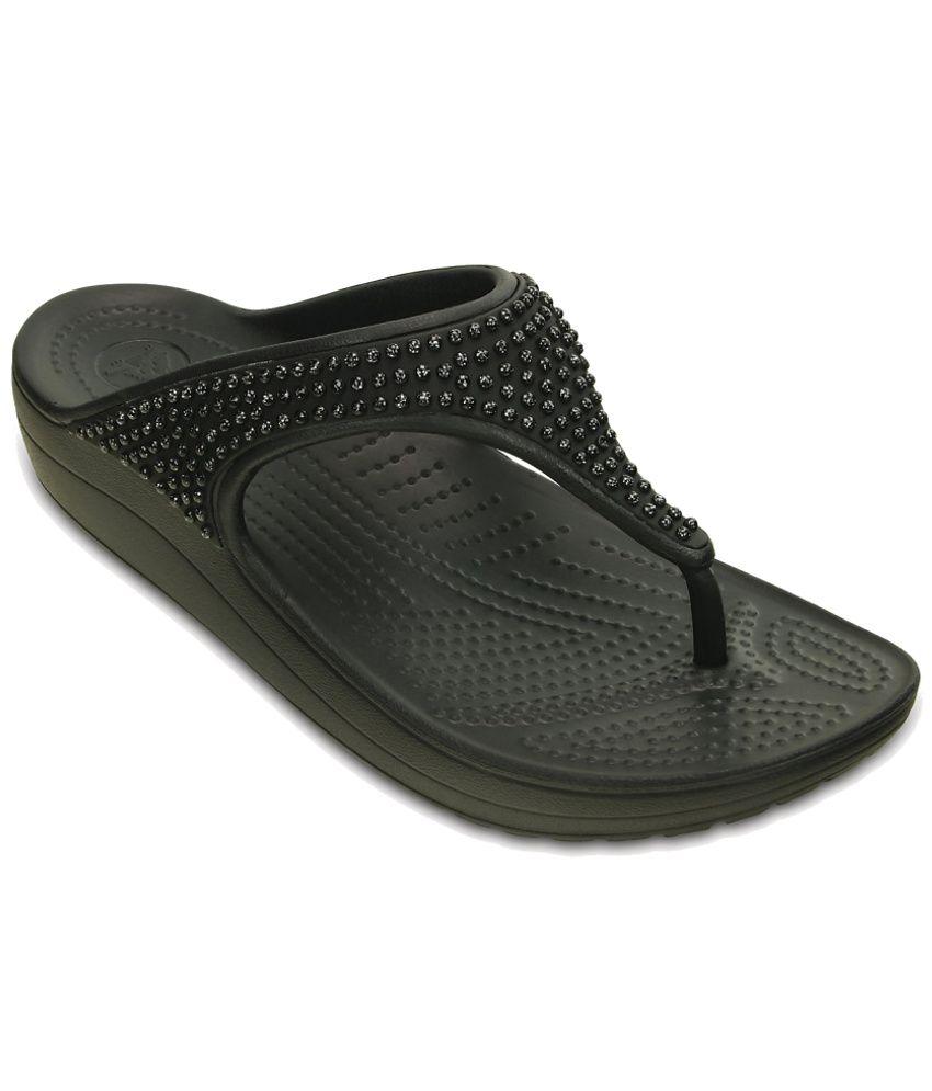 Crocs Black Slippers & Flip Flops Standard Fit