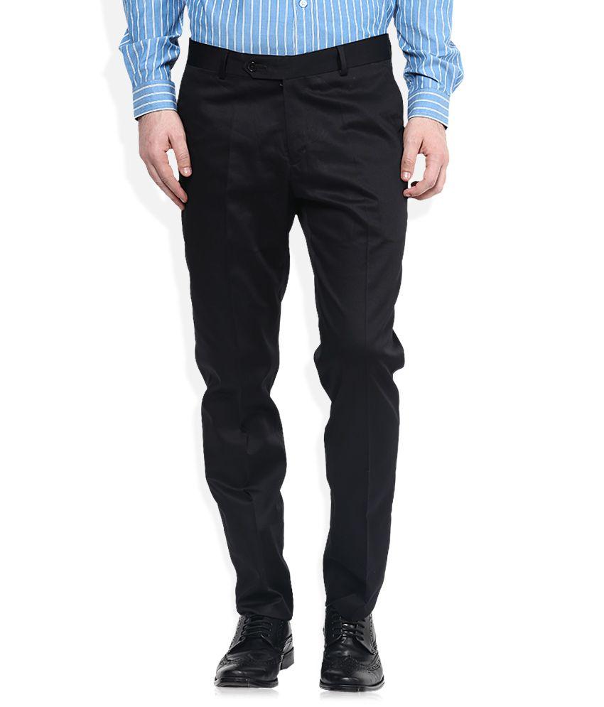 John Players Black Slim Pleated Trouser