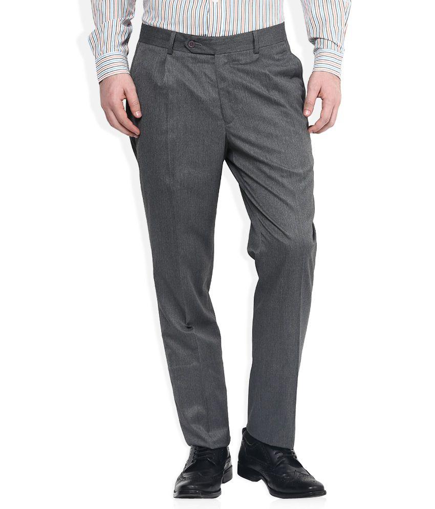 John Players Grey Regular Fit Trousers