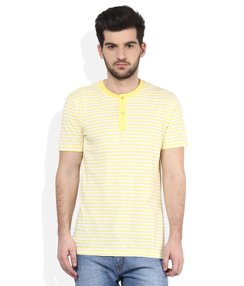 John Players Yellow Henley Neck T Shirt