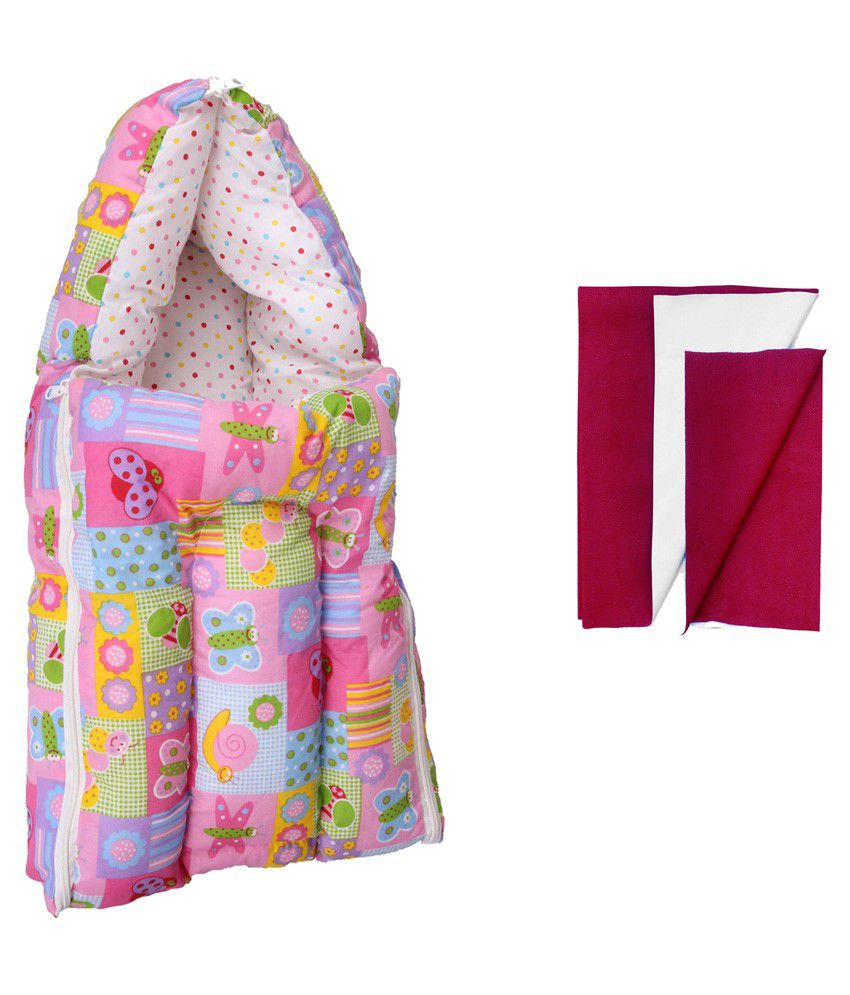Orange And Orchid Multicolour Cotton Sleeping Bag with Dry Sheet - 2 Pieces