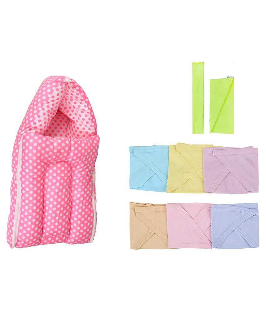 Orange And Orchid Multicolour Cotton Sleeping Bag with Dry Sheet and Nappy - 8 Pieces