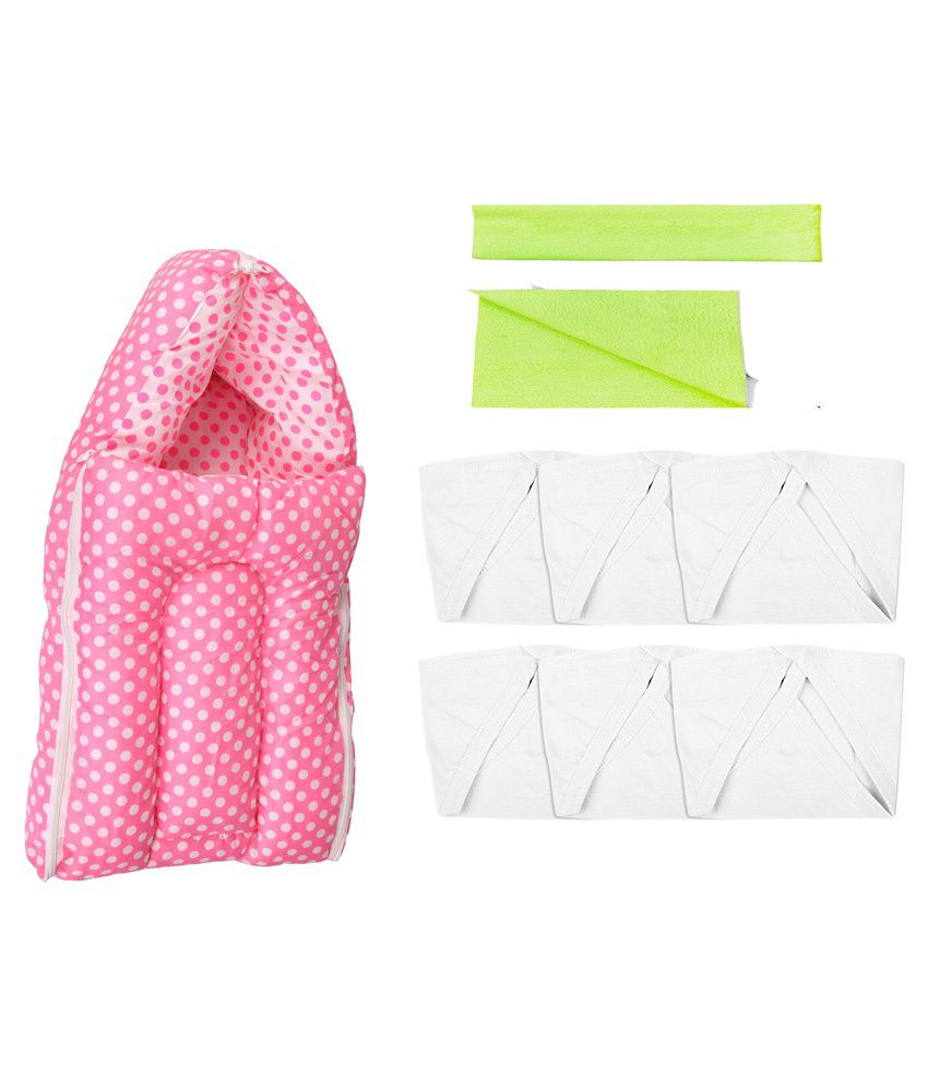 Orange And Orchid Pink and White Cotton Sleeping Bag with Dry Sheet and Nappy - 8 Pieces