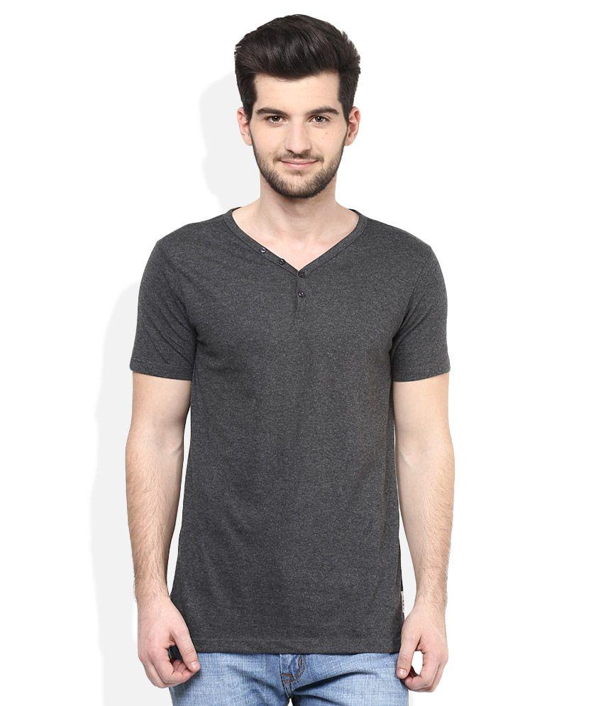 Cherokee Grey Henley Neck Half Sleeves Solids T-Shirt